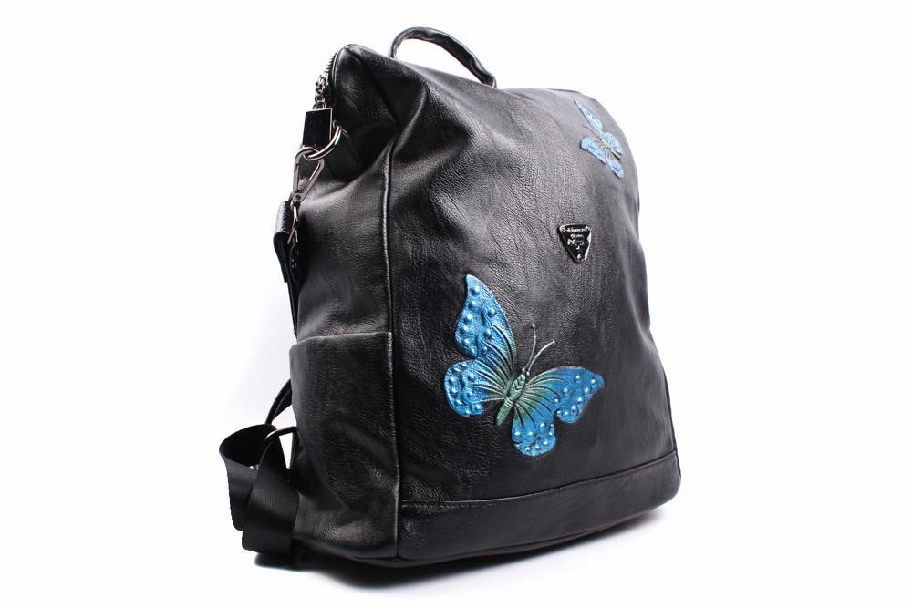 Рюкзак с бабочками эко-кожа, цвет черный, размер большой, квадратная форма