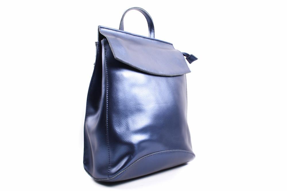 Рюкзак эко-кожа, цвет синий перламутр, размер средний, квадратная форма