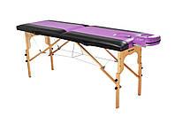 Стол массажный деревянный 2-х сегментный RELAX. Черно-фиолетовый
