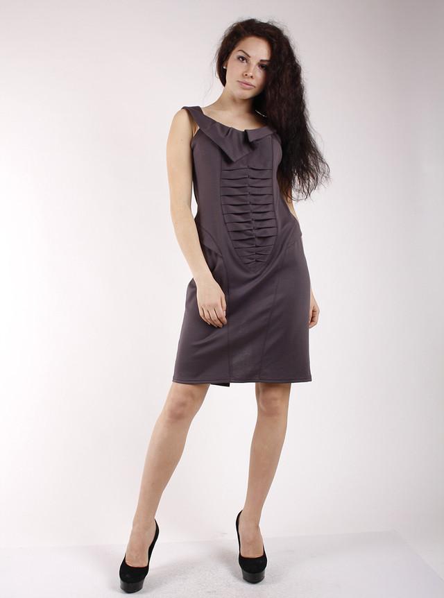 Платье-сарафан с оригинальным воротом П76