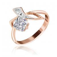 """Серебряное кольцо с камнями и позолотой """"008"""""""