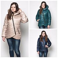 Женская зимняя куртка с ассиметричной молнией
