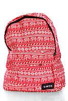Рюкзак SIMON хлопок. Красный рюкзак со слонами