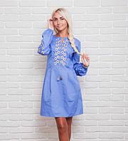 Модное женское платье с вышивкой в украинском стиле, джинс
