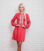 Модное женское платье с вышивкой в украинском стиле, красное