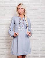 Модное женское платье с вышивкой в украинском стиле, cветло-серое