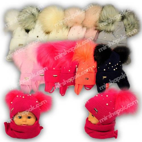 Детский комплект - шапка и шарф для девочки, 1285, Agbo (Польша), утеплитель SUPERWARM