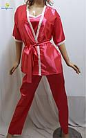 Пижама женская атласная, домашний костюм халат, майка, штаны, р.46-50, Украина 456-2