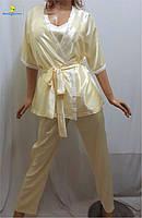 Пижама женская атласная, домашний костюм халат, майка, штаны, р.46-50, Украина 456-3
