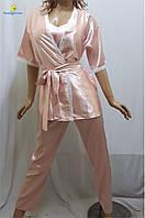 Пижама женская атласная, домашний костюм халат, майка, штаны, р.46-50, Украина 456-4