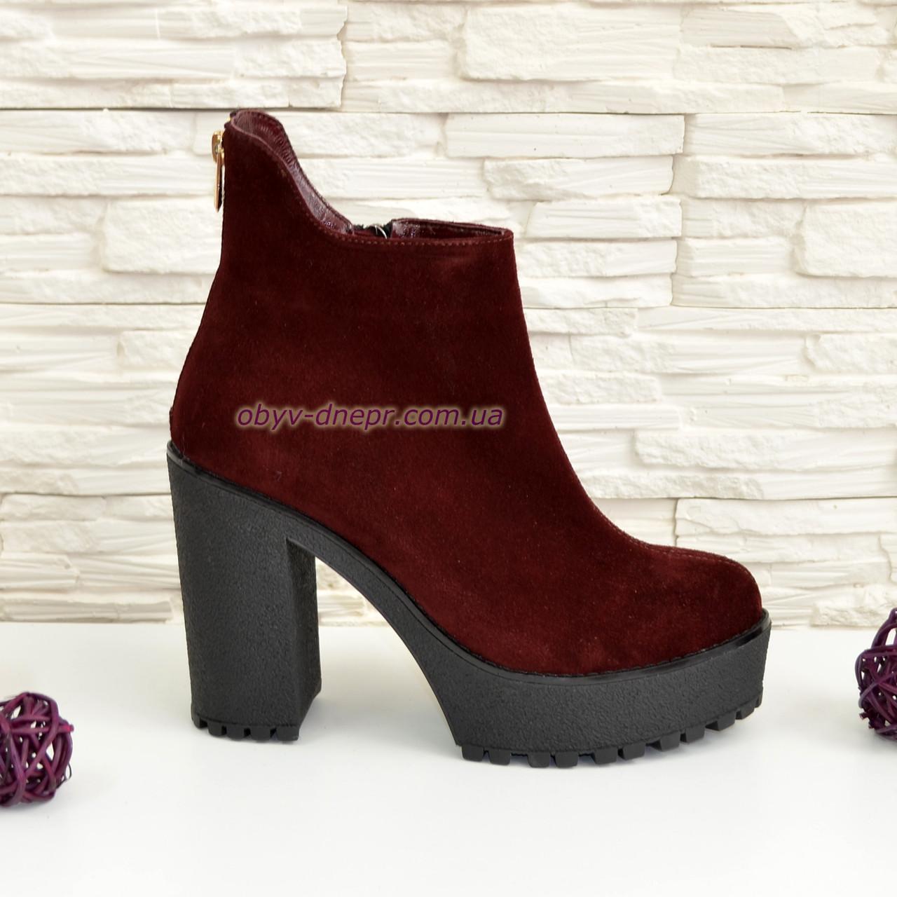 d9bb0cc18e21 Ботинки замшевые женские зимние на высоком каблуке. Бордовый цвет: продажа,  цена в ...
