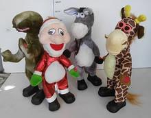 Танцующая музыкальная мягкая игрушка Динозавр, Ослик, Жираф, Дед Мороз