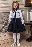 """Детская школьная юбка на резинке """"Джаз"""" со складками и кружевом"""