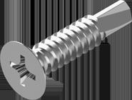 TEX-C Саморез по металу со сверлом потайная голова 3,5х25 цинк белый крестообразный шлиц PH