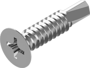 TEX-C Саморез по металу со сверлом потайная голова 4,2х38 цинк белый крестообразный шлиц PH