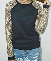 Модный реглан с рукавами леопардовой расцветки