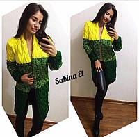 Вязаный женский кардиган в стиле Лало, много расцветок желтый+зеленый