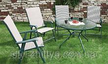 Комплект ATLANTA . 4 крісла (скл.) + стіл з отвором для зонта