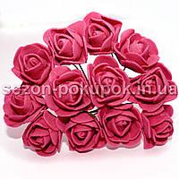 Роза латекс 2см (цена за букет 12 шт) цвет-Темно коралловый