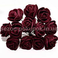 Роза латекс 2см (цена за букет 12 шт) цвет- БУРГУНДИ