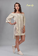 Летнее платье на пуговицах с золотом Lato