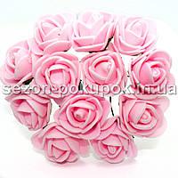 Роза латекс 2см (цена за букет 12 шт) цвет-Розовый