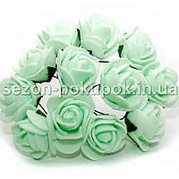Роза латекс 2см (цена за букет 12 шт) цвет-Мятный