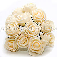 Роза латекс 2см (цена за букет 12 шт) цвет-Кремовый