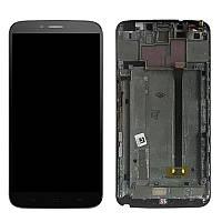 Дисплей (экран) для Alcatel One Touch 8020 Hero Bluish + с сенсором (тачскрином) и рамкой черный Оригинал