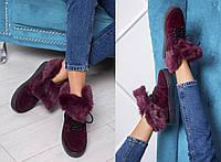 Женские зимние ботинки Dsquared из натурального замша и меха (в расцветках)