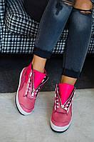 Женские модные зимние розовые ботинки с молнией из натуральной кожи