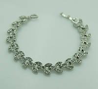 Женский свадебный браслет из белых камней. Ювелирная бижутерия 1092