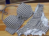 Черно-белый полосатый купальник Victorias Secret 34B низ S