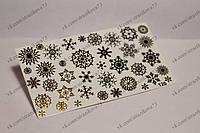 Фольгированный слайдер дизайн №120 золото Снежинки