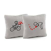 Набор подушек для влюбленных «Велосипед» флок