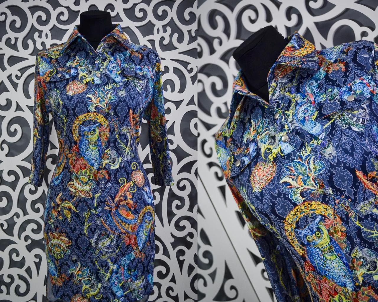 """Стильные женские платья-туники ткань """"Хлопок+стрейч"""" 52, 54 размер батал"""
