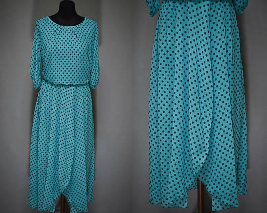 """Женское платье в мелкий горошек """"Легкий воздушный шифон на подкладке""""  52 размер батал, фото 2"""