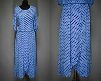 """Женское платье в мелкий горошек """"Легкий воздушный шифон на подкладке"""" 50, 52 размер батал"""