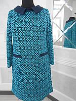 Платье трикотажное из набивной ткани большого размера 54
