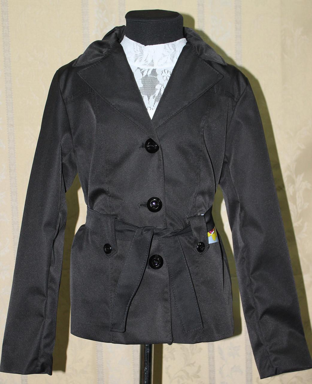 Пиджак, жакет-курточка для девочки черный.