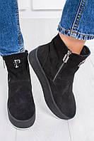 Женские очень красивые зимние замшевые ботинки с натуральным мехом