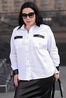 Рубашка с кожаными вставками для крупных женщин, с 48-74 размер, фото 1
