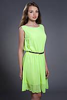 Шифоновое платье с поясом. Код модели Л-24-25-14.