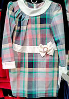 Модное платье для девочки в клетку 1708\18