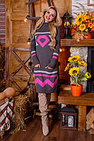 Модное вязанное платье Диамант графит - малина