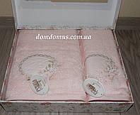 """Подарочный набор полотенец 3D """"Цветочки"""" бамбук Puppila, розовый цвет"""
