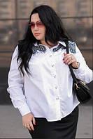 Рубашка с гипюровыми вставками для крупных женщин, с 48-74 размер, фото 1