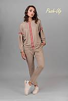 Женский прогулочный костюм с лампасами кофейного цвета Lato