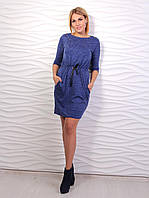 Плаття жіноче з карманами на поясочку, прикрашене бусинками