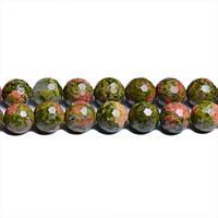 Граненый Унакит, Натуральный камень, На нитях, бусины 8 мм, Шар, Отверстие 1 мм, количество: 47-48 шт/нить